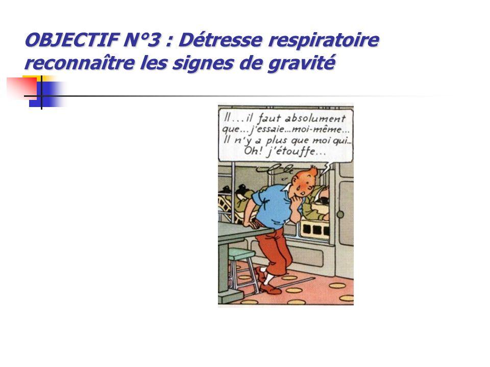 OBJECTIF N°3 : Détresse respiratoire reconnaître les signes de gravité