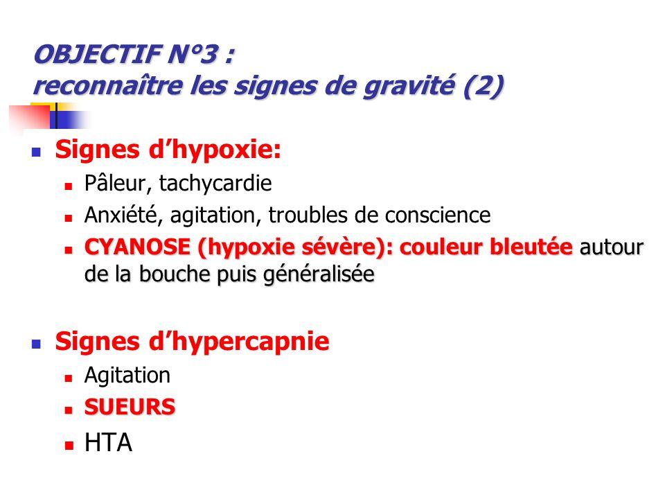 OBJECTIF N°3 : reconnaître les signes de gravité (2)