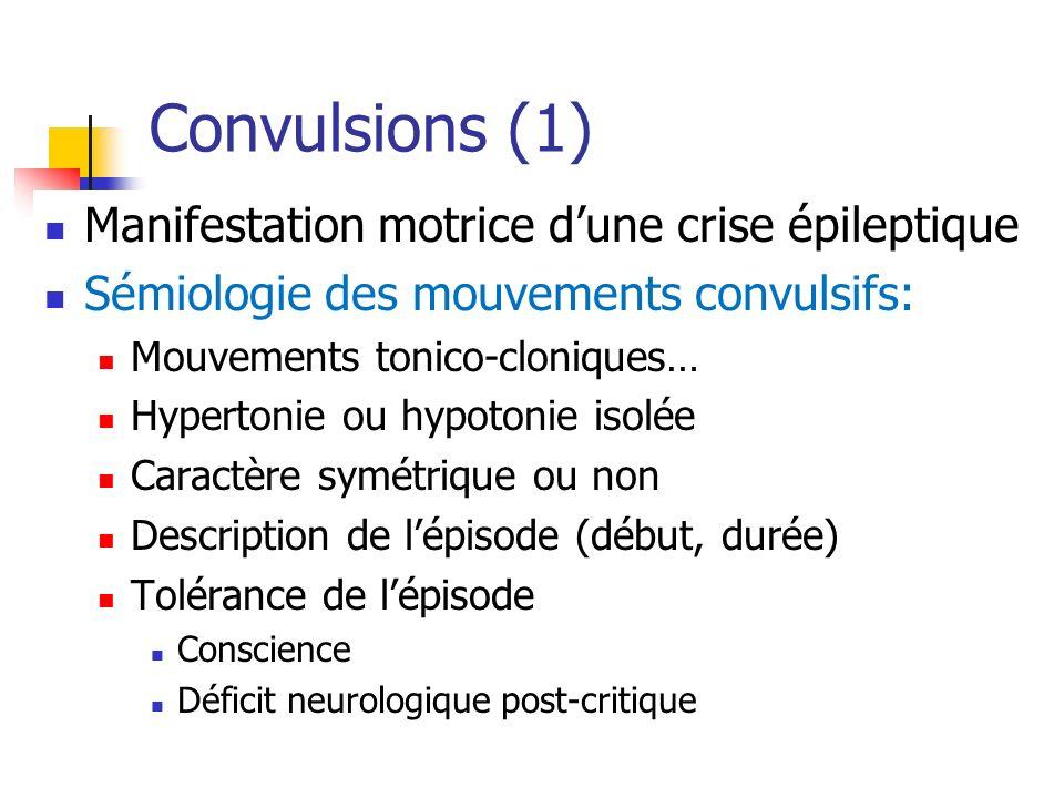 Convulsions (1) Manifestation motrice d'une crise épileptique