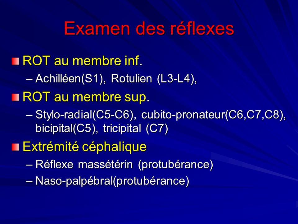 Examen des réflexes ROT au membre inf. ROT au membre sup.