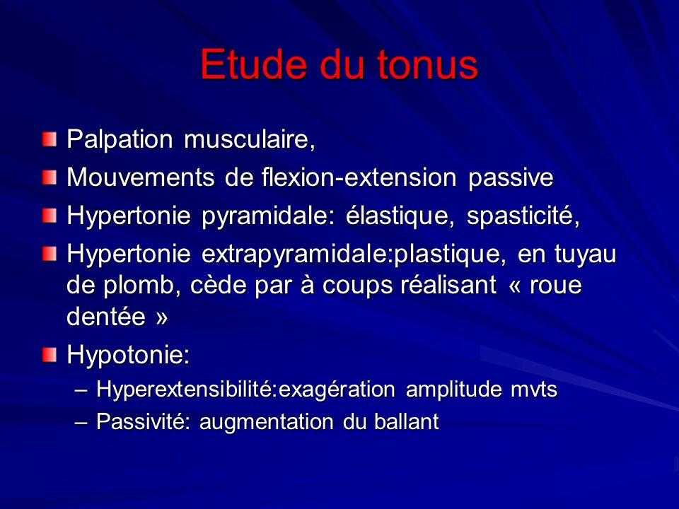 Etude du tonus Palpation musculaire,