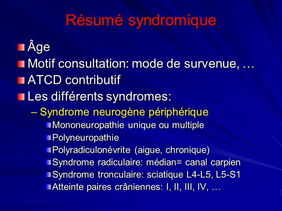Résumé syndromique Âge Motif consultation: mode de survenue, …