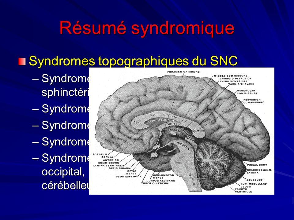 Résumé syndromique Syndromes topographiques du SNC