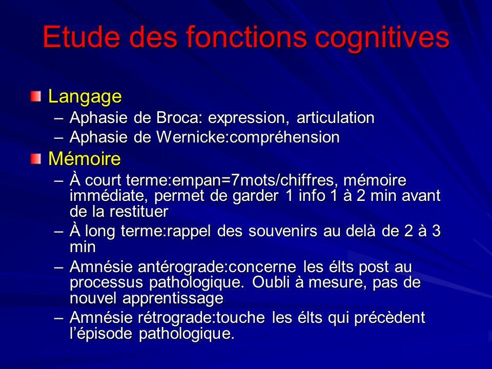 Etude des fonctions cognitives
