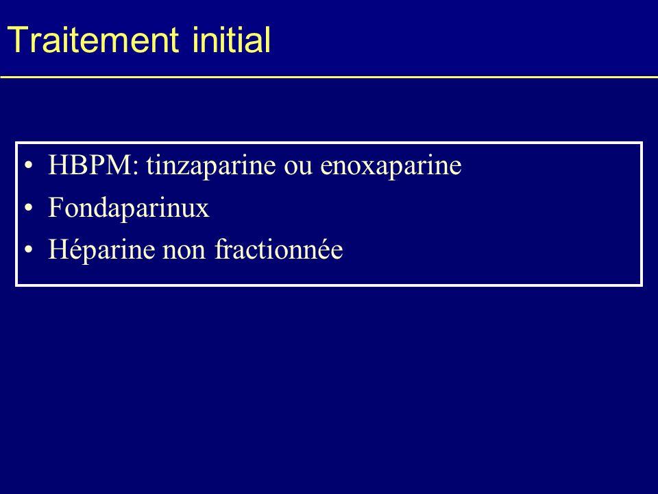 Traitement initial HBPM: tinzaparine ou enoxaparine Fondaparinux
