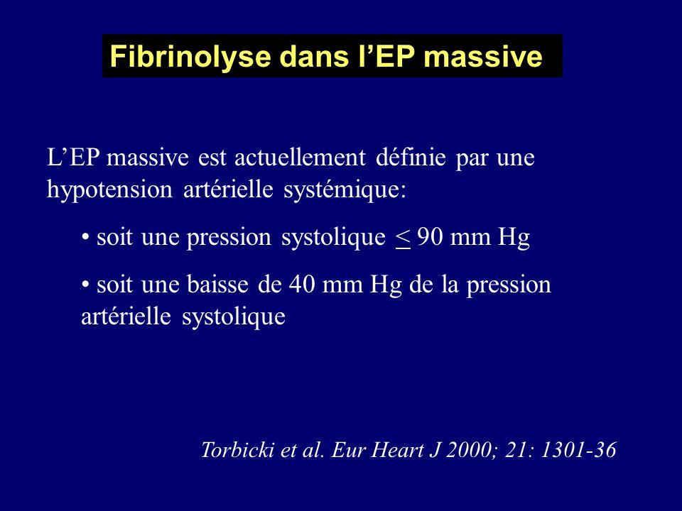 Fibrinolyse dans l'EP massive