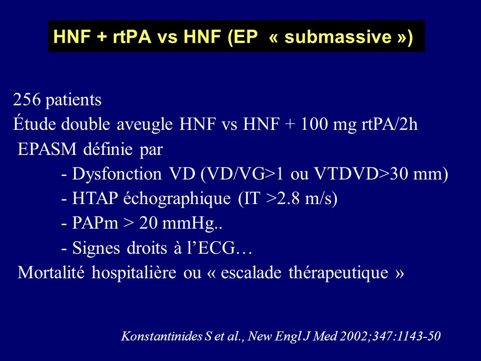 HNF + rtPA vs HNF (EP « submassive »)