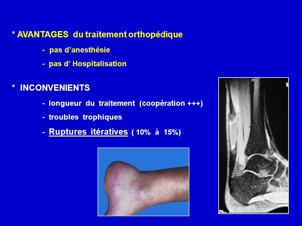* AVANTAGES du traitement orthopédique - pas d'anesthésie