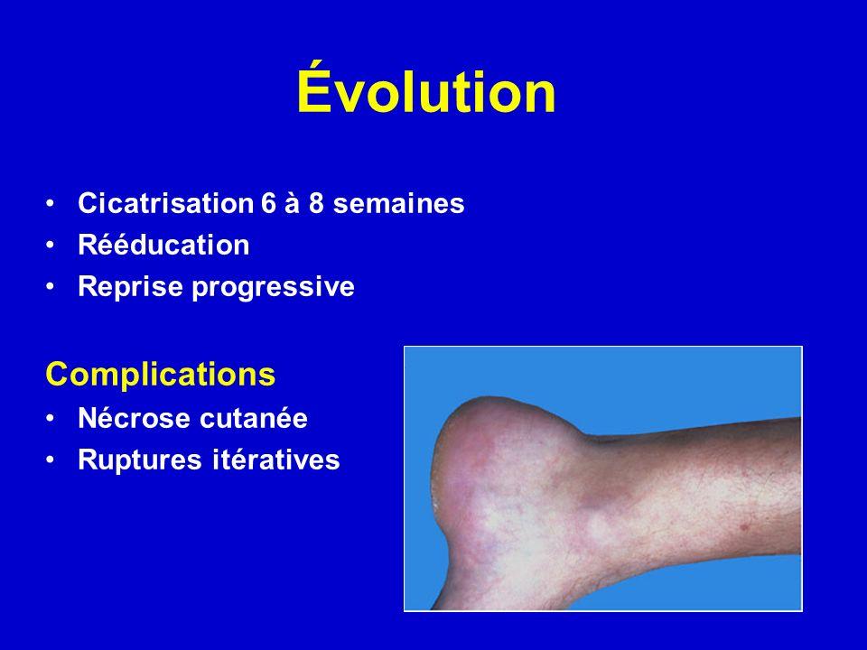 Évolution Complications Cicatrisation 6 à 8 semaines Rééducation
