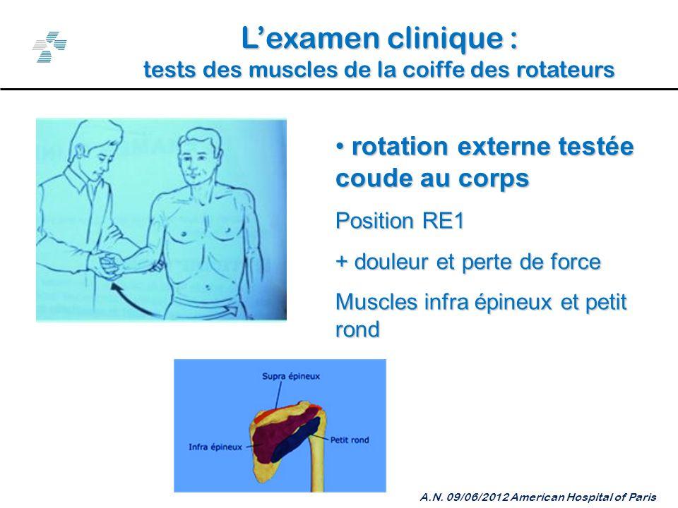 L'examen clinique : rotation externe testée coude au corps