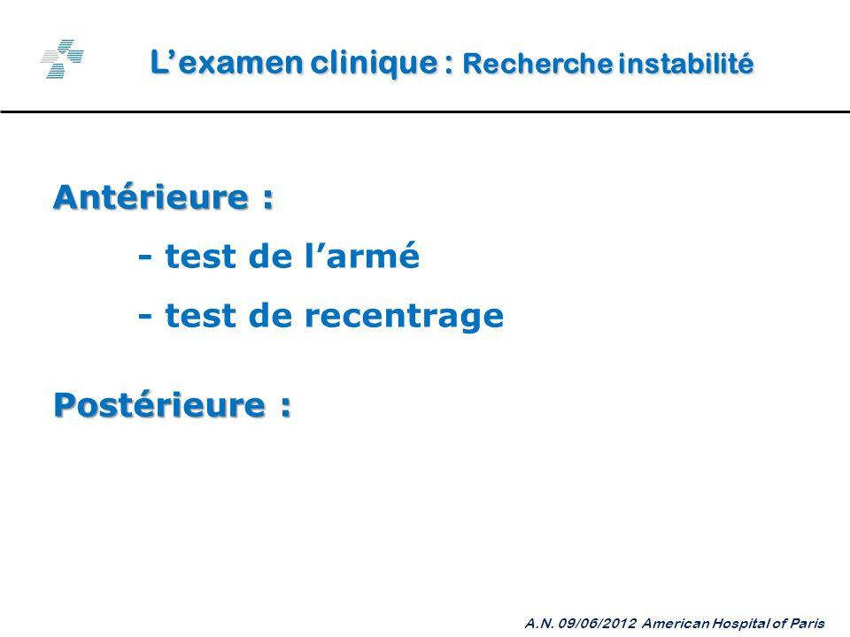 L'examen clinique : Recherche instabilité