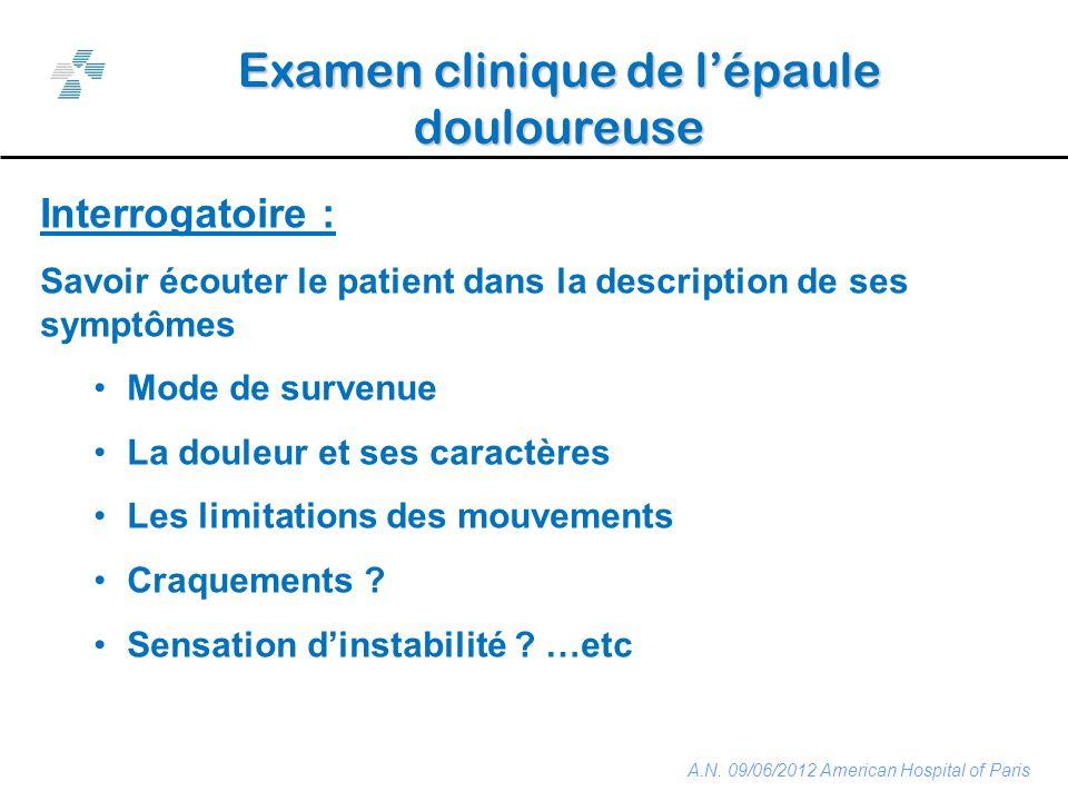 Examen clinique de l'épaule douloureuse