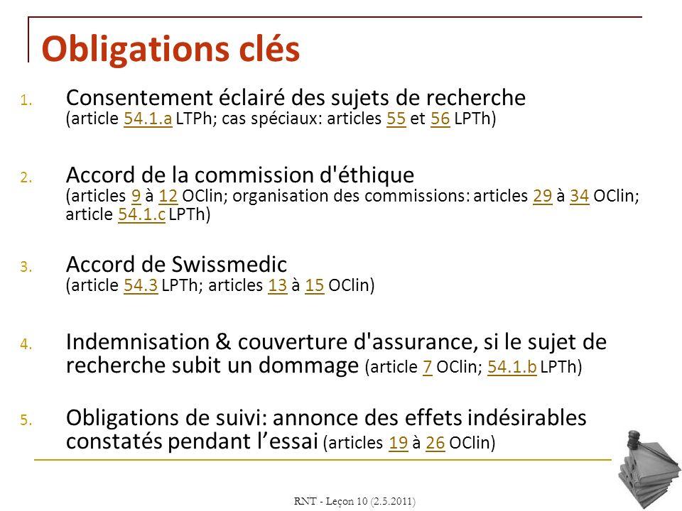 Obligations clés Consentement éclairé des sujets de recherche (article 54.1.a LTPh; cas spéciaux: articles 55 et 56 LPTh)