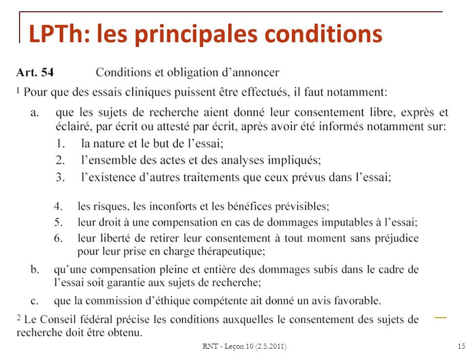 LPTh: les principales conditions