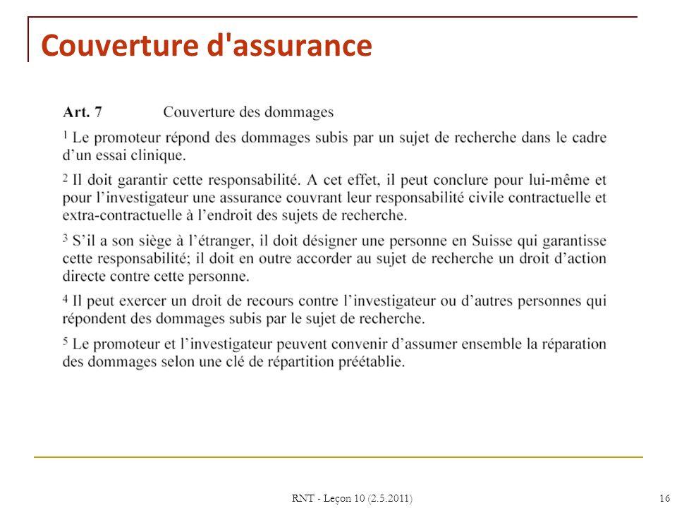 Couverture d assurance
