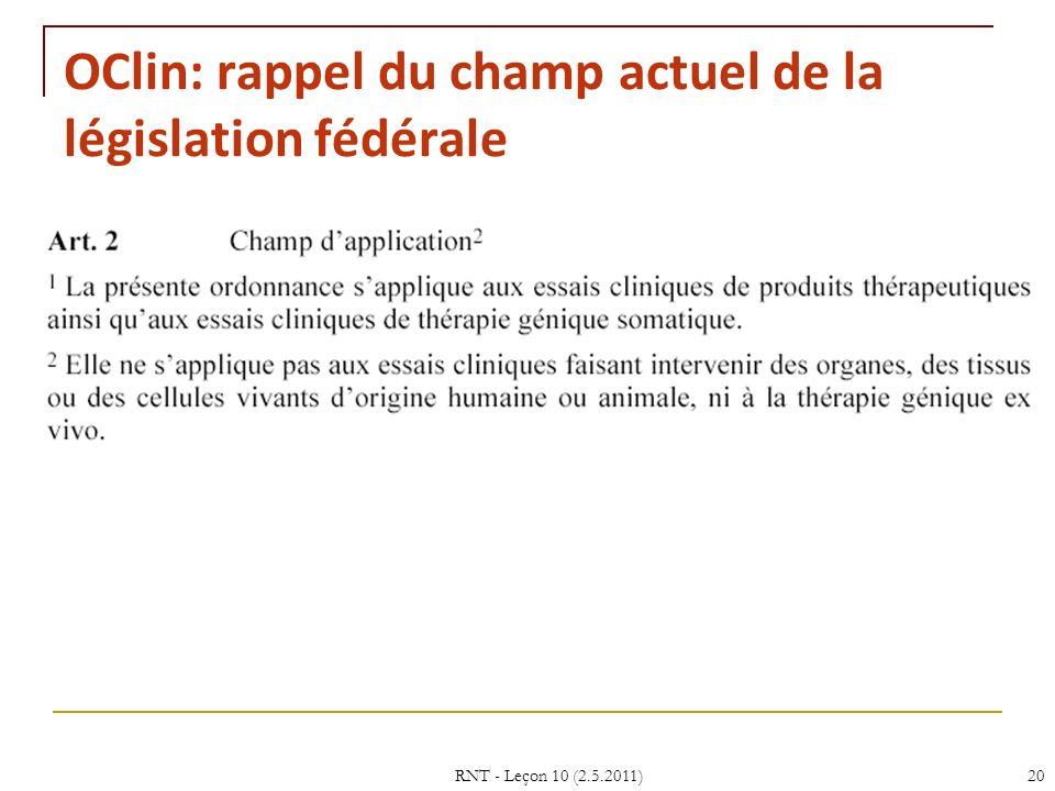 OClin: rappel du champ actuel de la législation fédérale