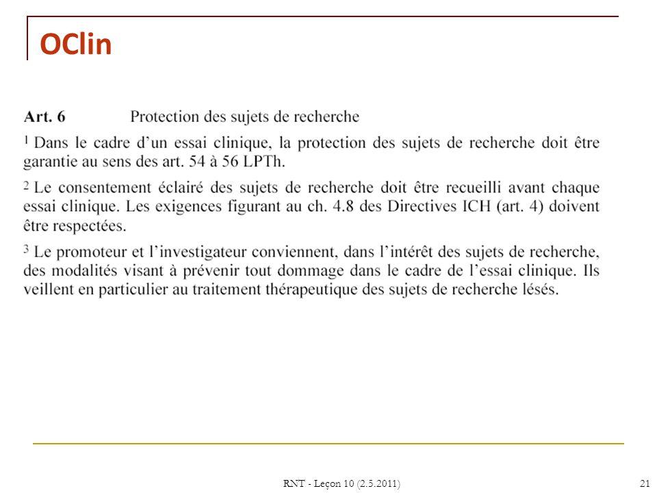 OClin RNT - Leçon 10 (2.5.2011) 21 21