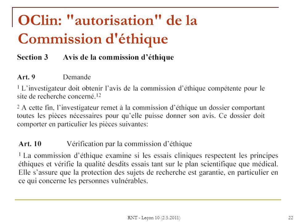 OClin: autorisation de la Commission d éthique