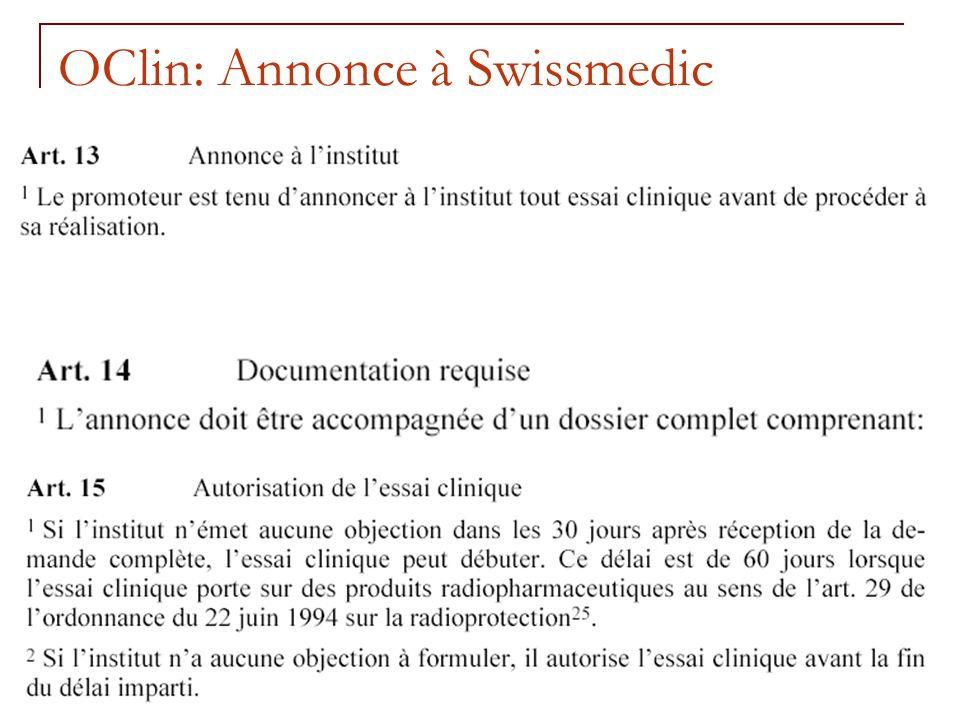 OClin: Annonce à Swissmedic