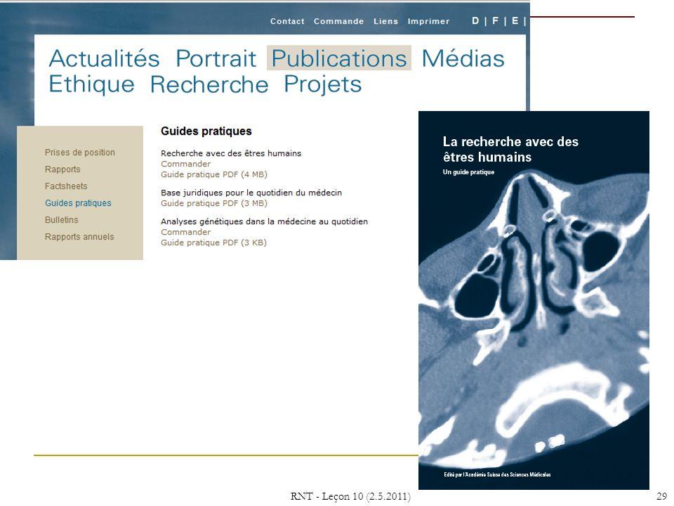 RNT - Leçon 10 (2.5.2011) 29 29