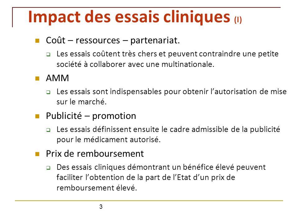 Impact des essais cliniques (I)