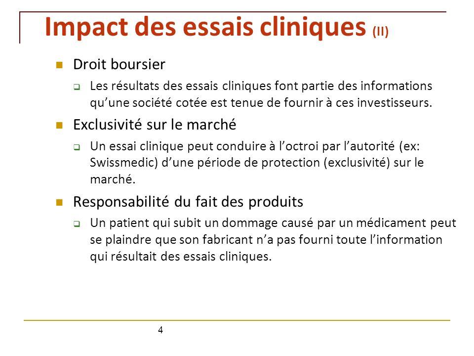 Impact des essais cliniques (II)