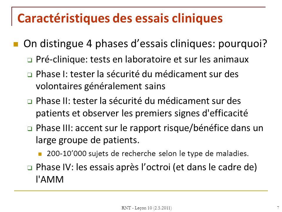 Caractéristiques des essais cliniques