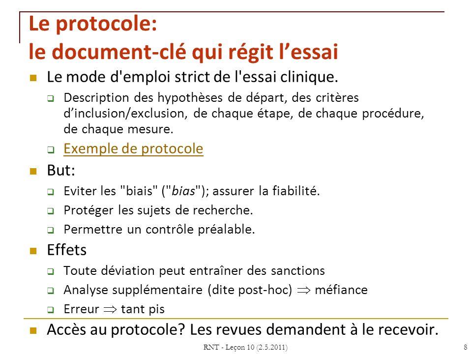 Le protocole: le document-clé qui régit l'essai