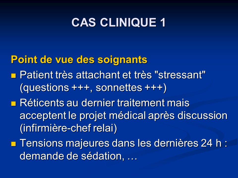 CAS CLINIQUE 1 Point de vue des soignants