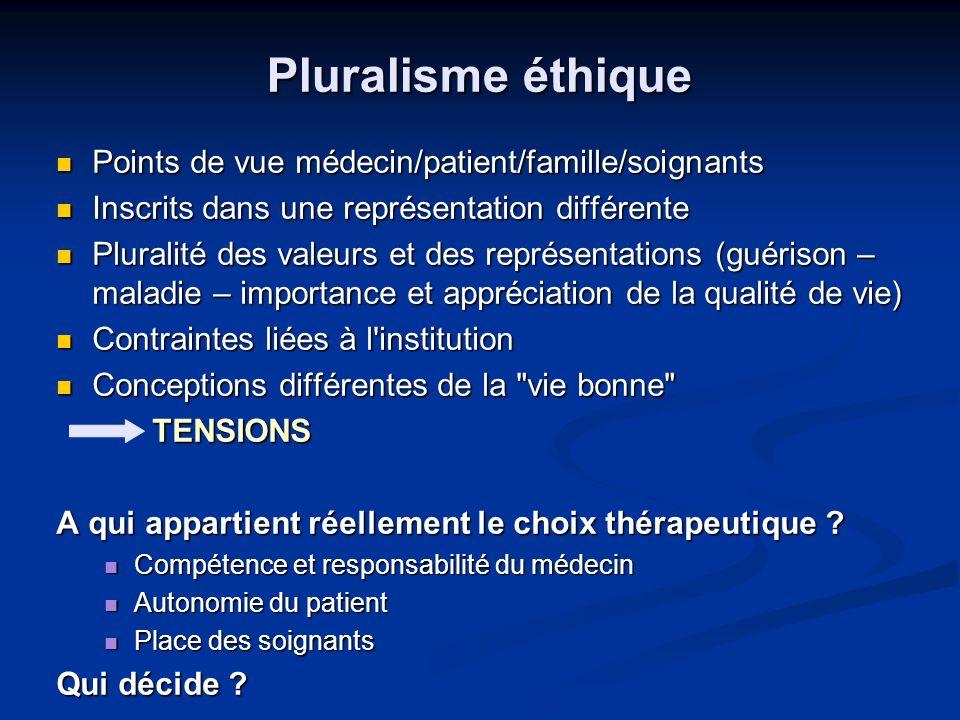 Pluralisme éthique Points de vue médecin/patient/famille/soignants