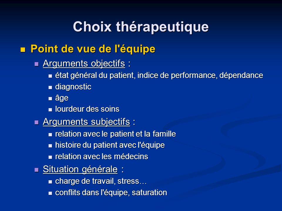Choix thérapeutique Point de vue de l équipe Arguments objectifs :