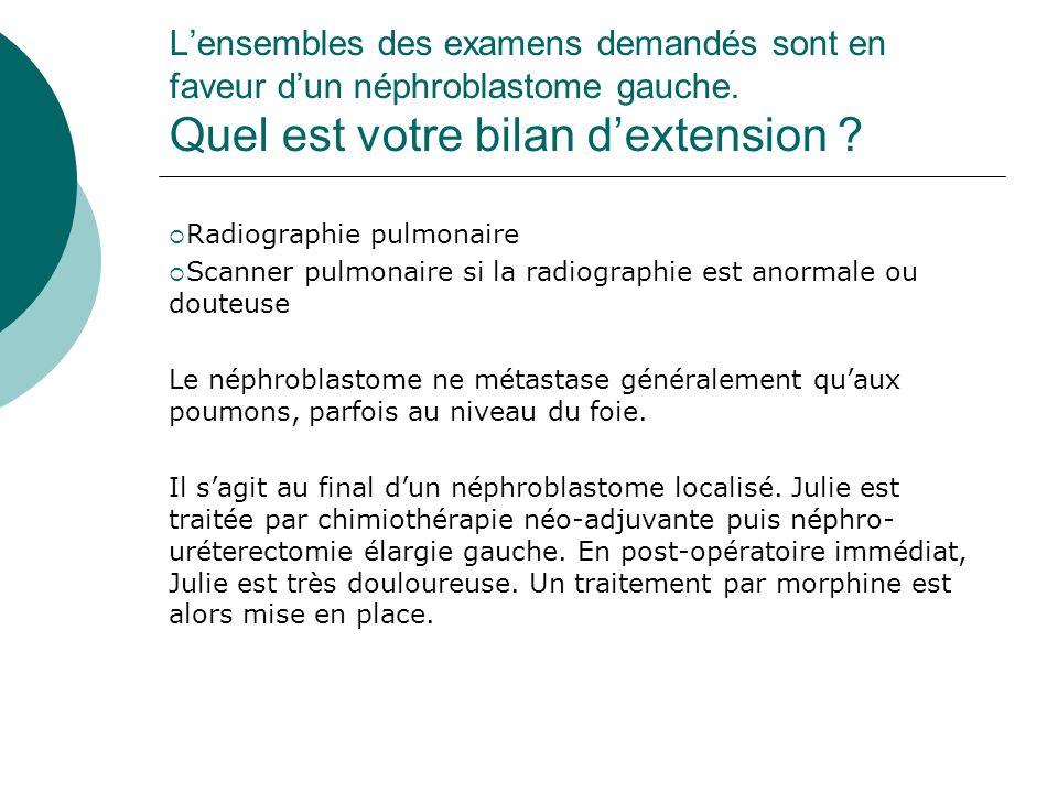L'ensembles des examens demandés sont en faveur d'un néphroblastome gauche. Quel est votre bilan d'extension