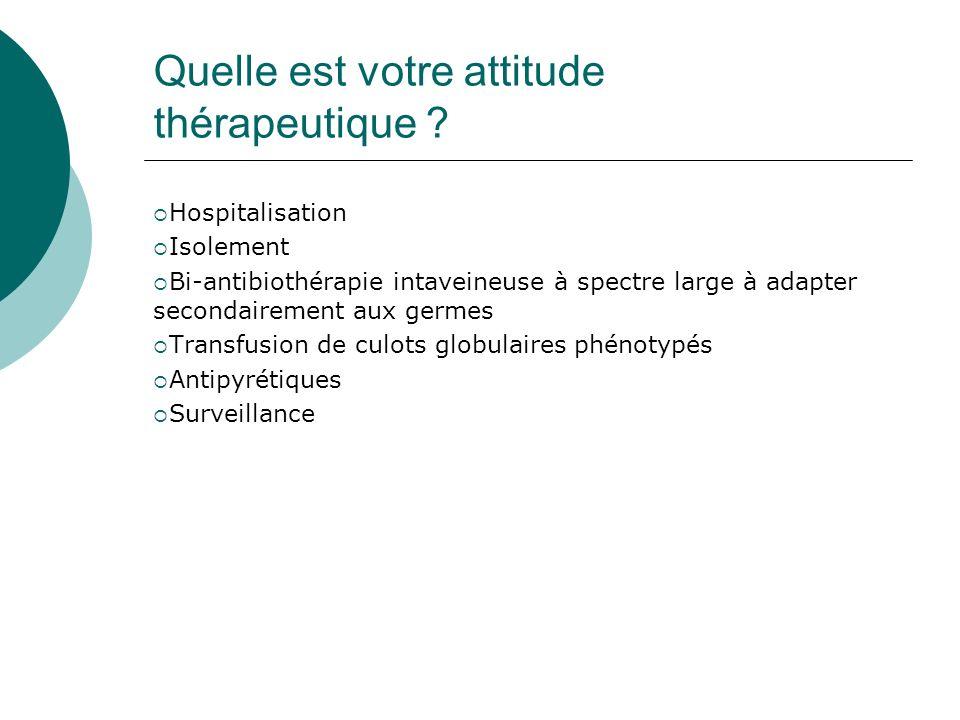 Quelle est votre attitude thérapeutique