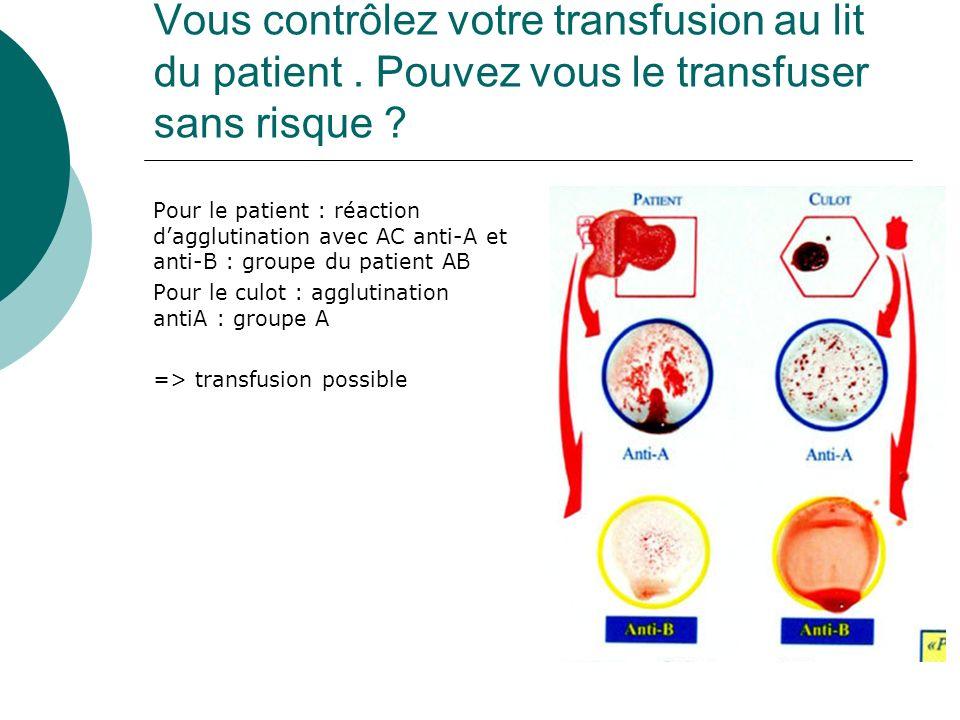 Vous contrôlez votre transfusion au lit du patient