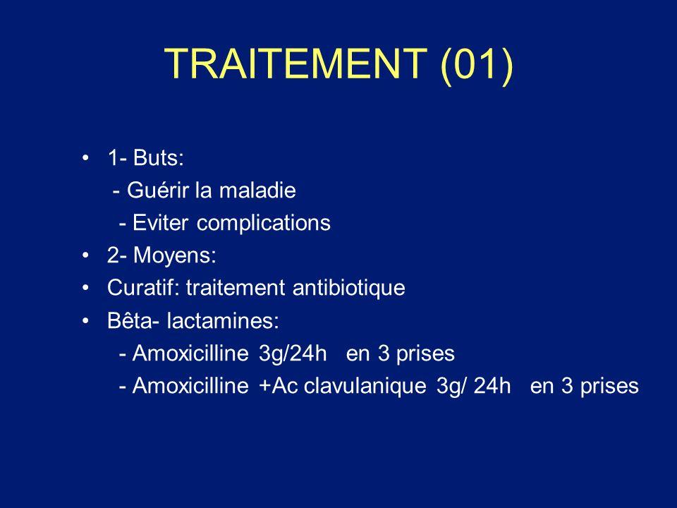 TRAITEMENT (01) 1- Buts: - Guérir la maladie - Eviter complications