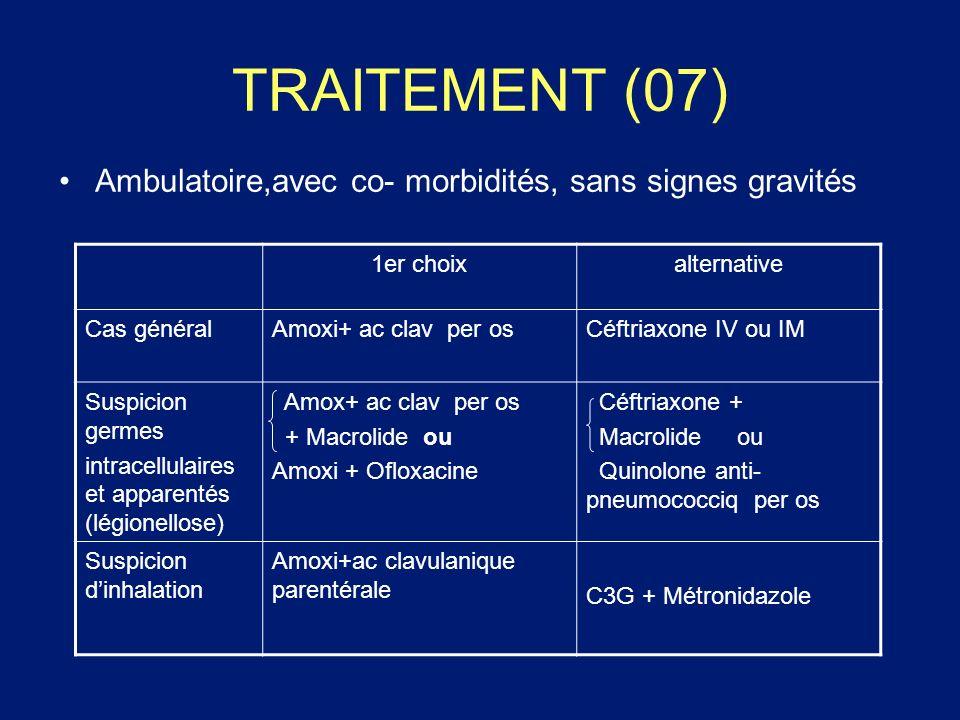 TRAITEMENT (07) Ambulatoire,avec co- morbidités, sans signes gravités