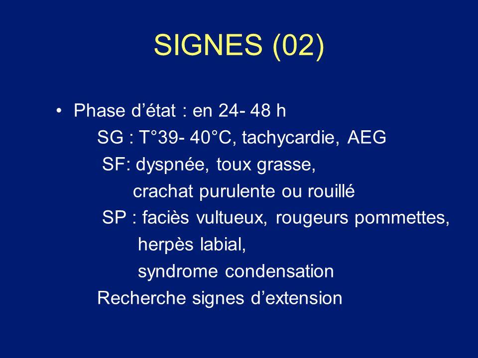 SIGNES (02) Phase d'état : en 24- 48 h