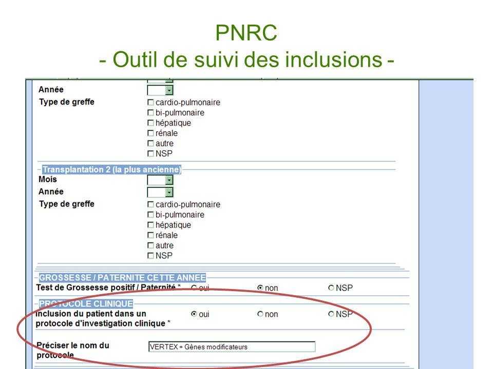 PNRC - Outil de suivi des inclusions -