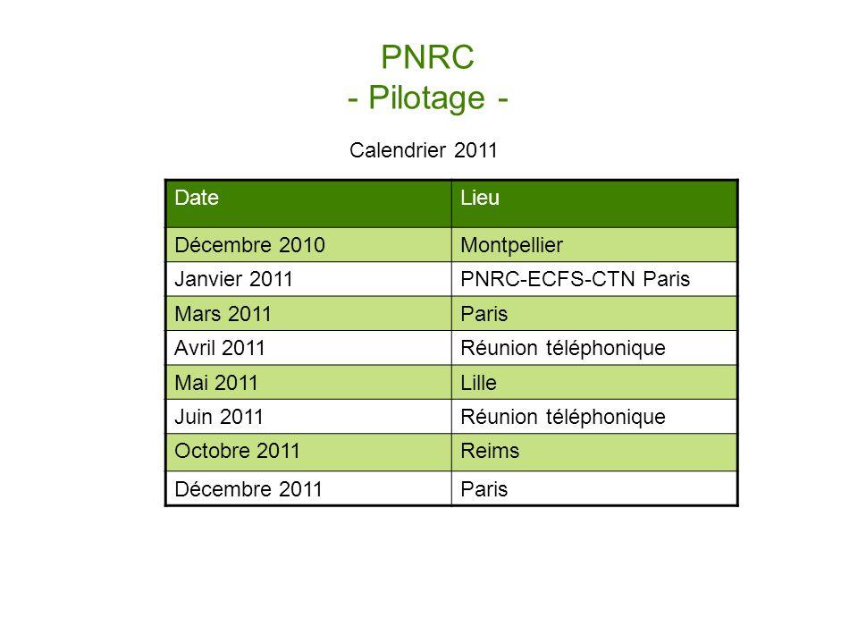 PNRC - Pilotage - Calendrier 2011 Date Lieu Décembre 2010 Montpellier