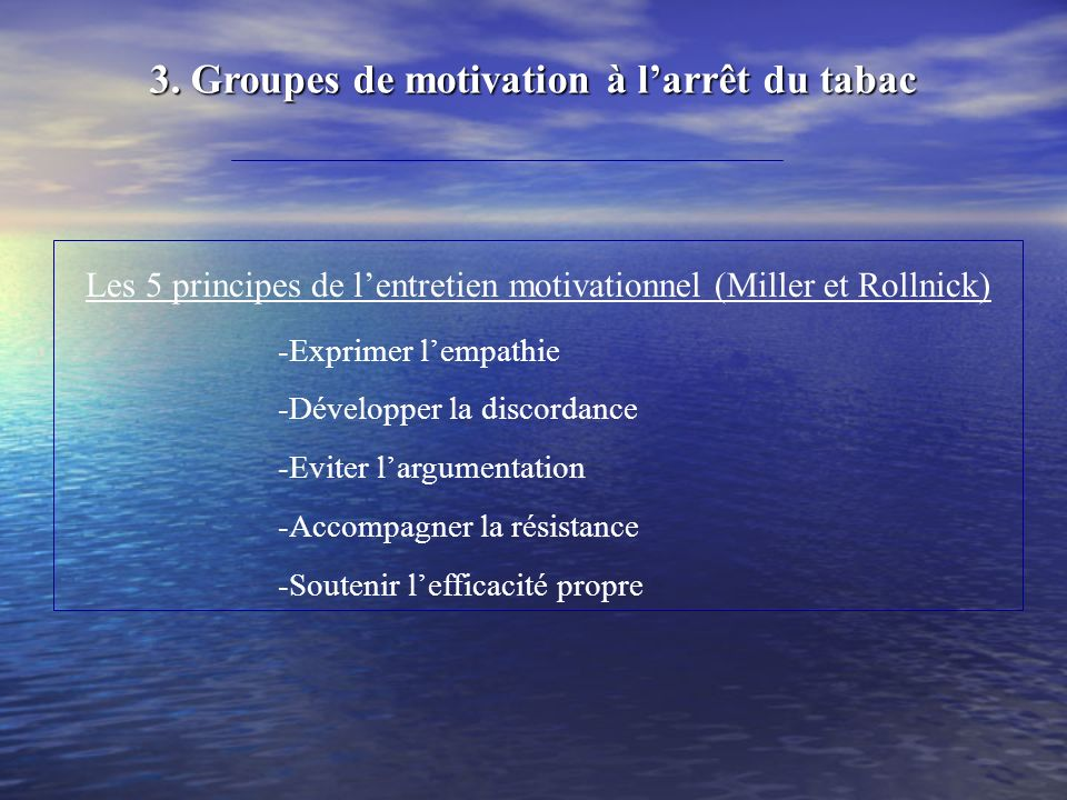 Les 5 principes de l'entretien motivationnel (Miller et Rollnick)