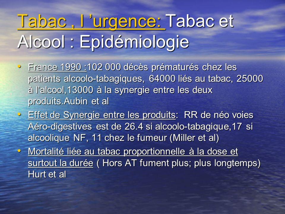 Tabac , l 'urgence: Tabac et Alcool : Epidémiologie