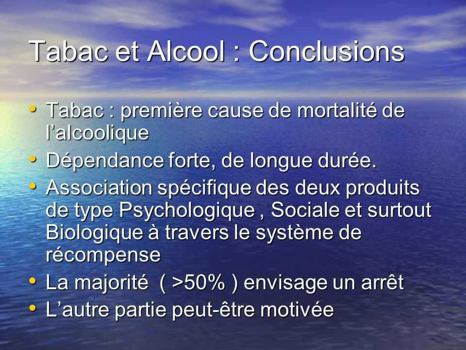 Tabac et Alcool : Conclusions