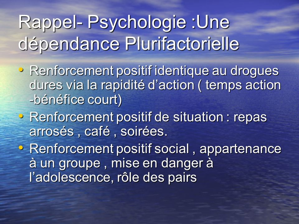 Rappel- Psychologie :Une dépendance Plurifactorielle