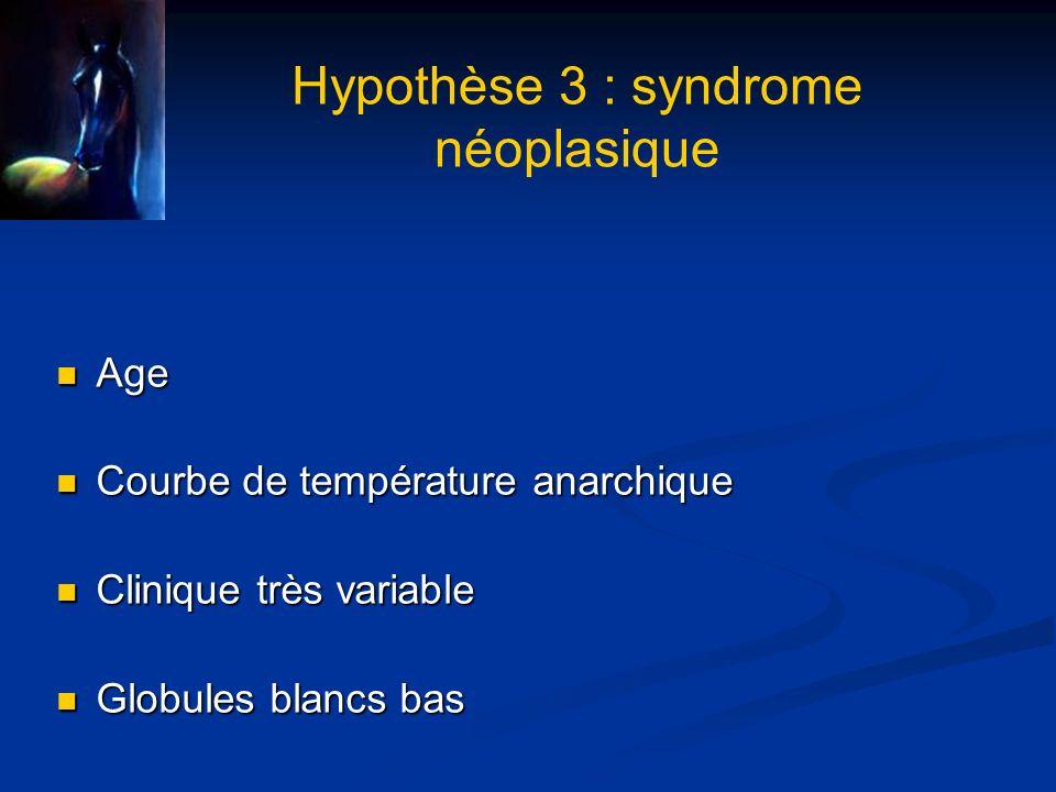 Hypothèse 3 : syndrome néoplasique