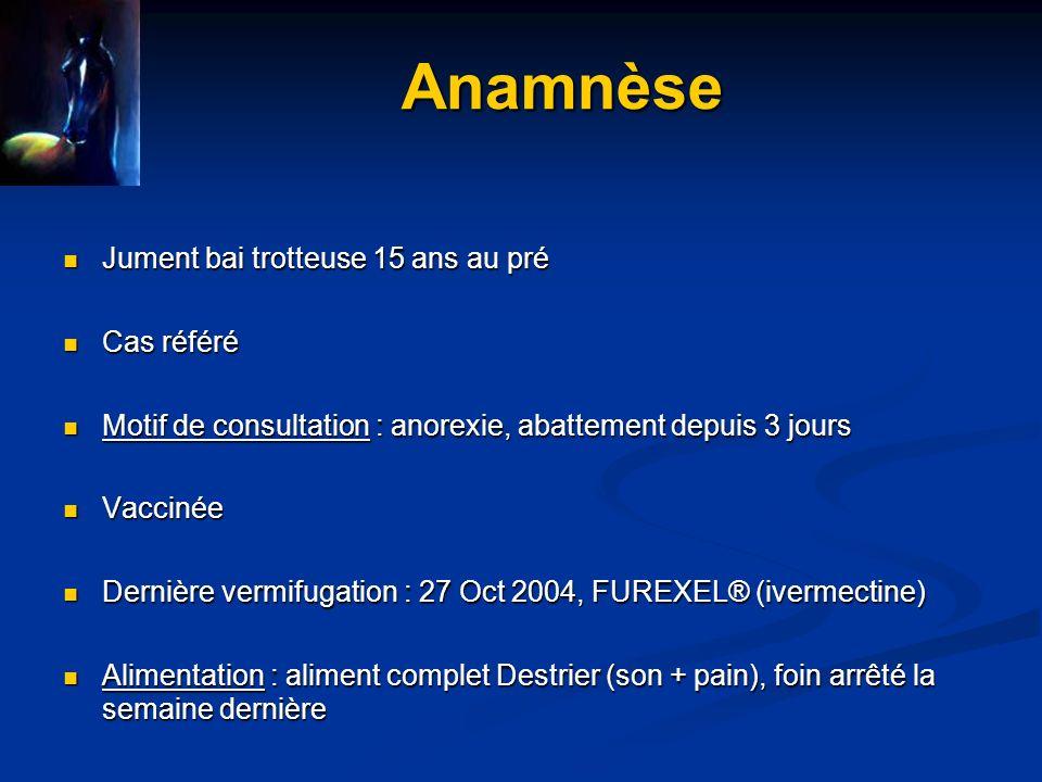 Anamnèse Jument bai trotteuse 15 ans au pré Cas référé