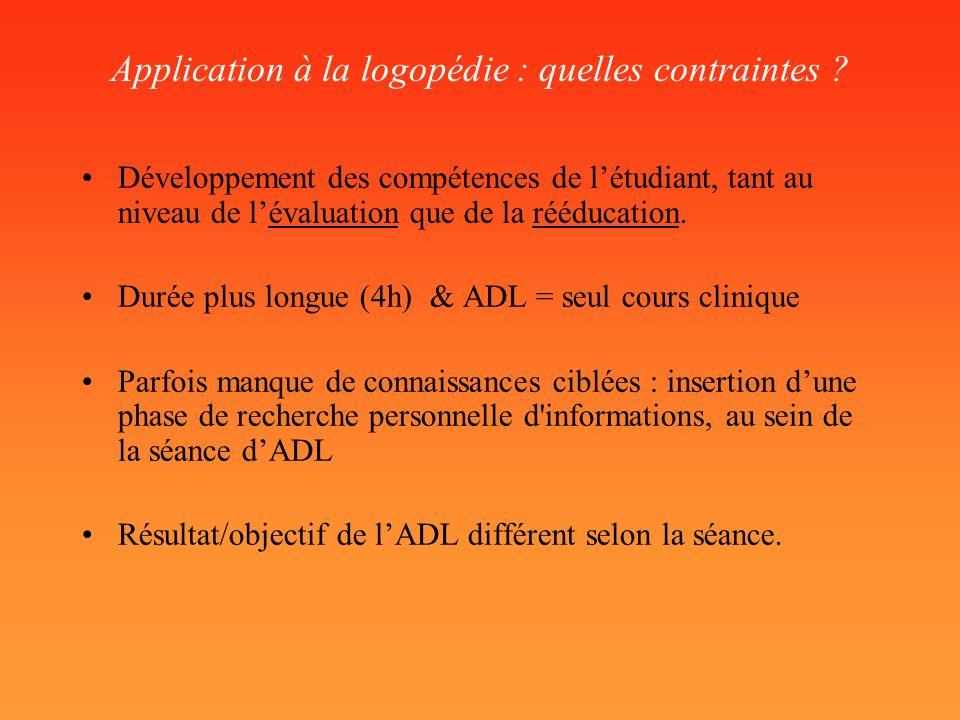 Application à la logopédie : quelles contraintes
