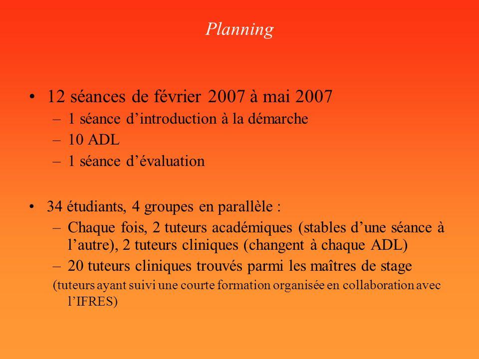 12 séances de février 2007 à mai 2007