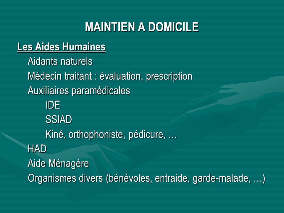 MAINTIEN A DOMICILE Les Aides Humaines Aidants naturels