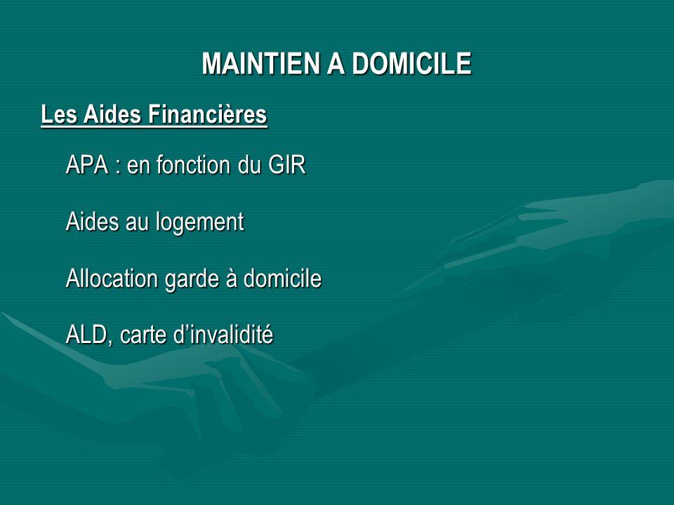 MAINTIEN A DOMICILE Les Aides Financières APA : en fonction du GIR