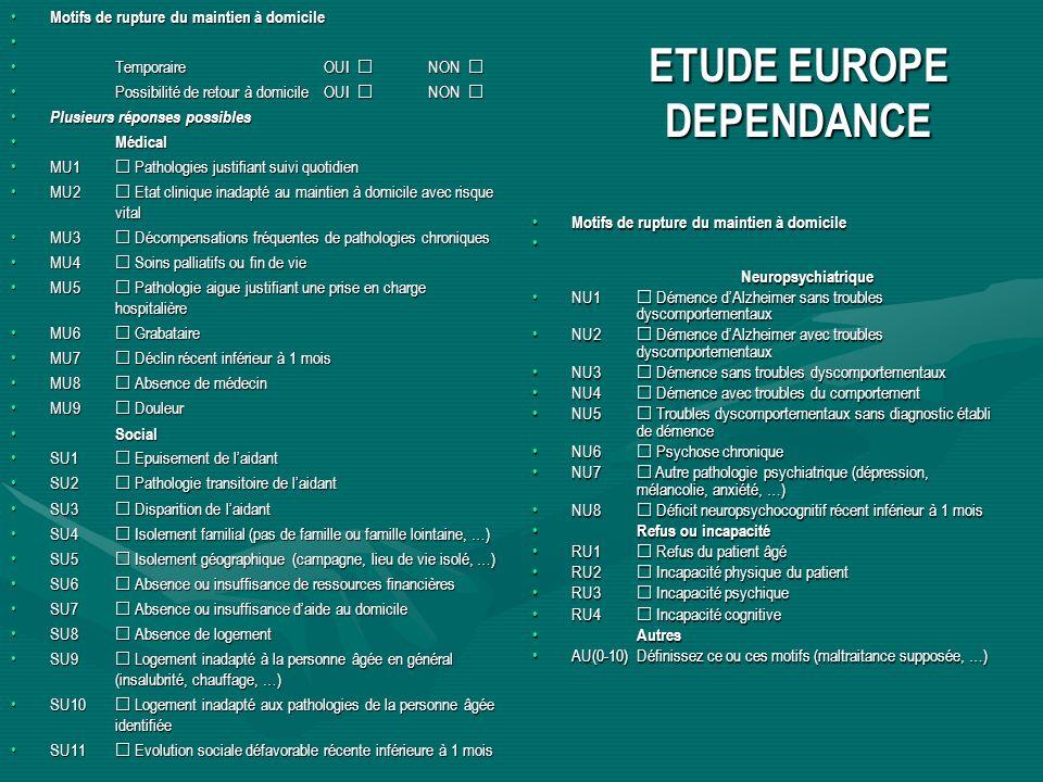 ETUDE EUROPE DEPENDANCE